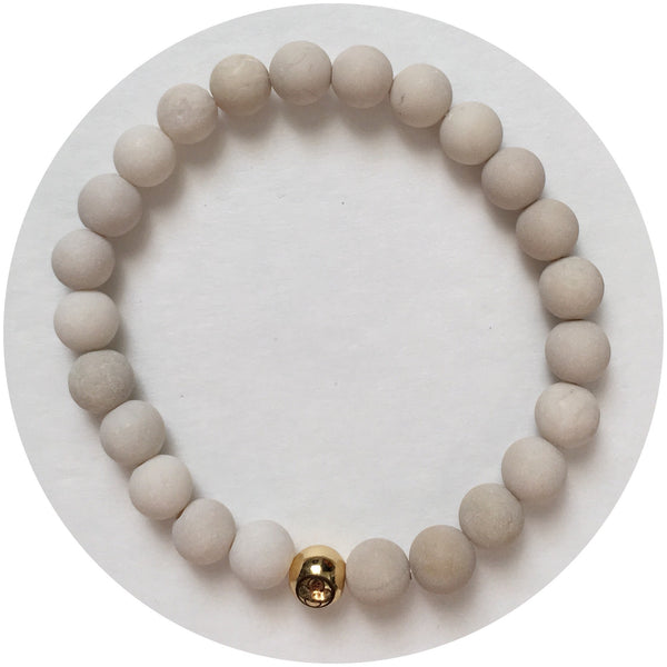 Men's Matte Beige Riverstone with Gold Accent