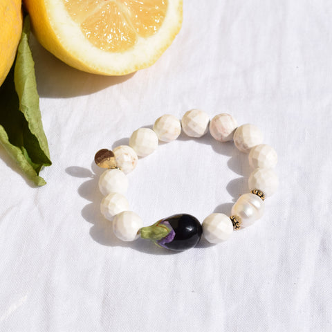 White Magnesite with Handpainted Eggplant