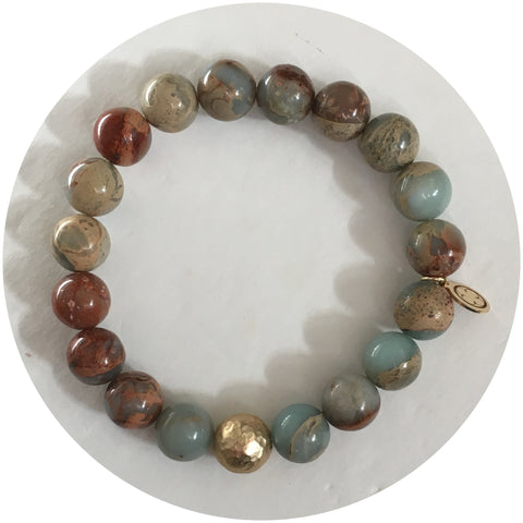 Sandy Jasper with Hammered Gold Accent