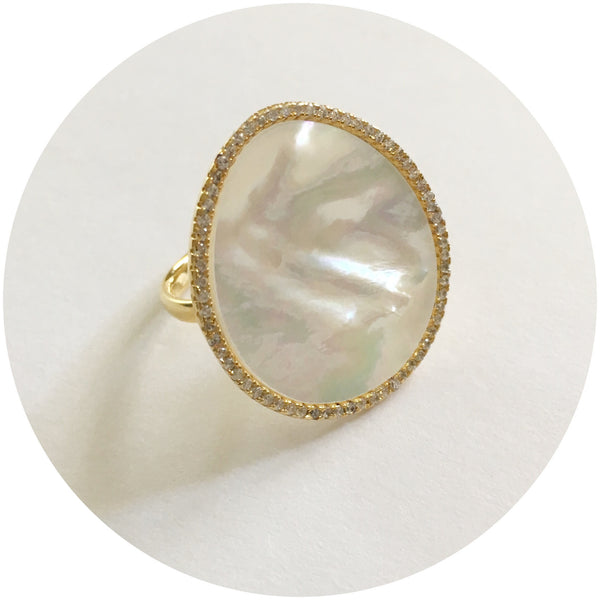 Mother of Pearl Gold Pavé Ring