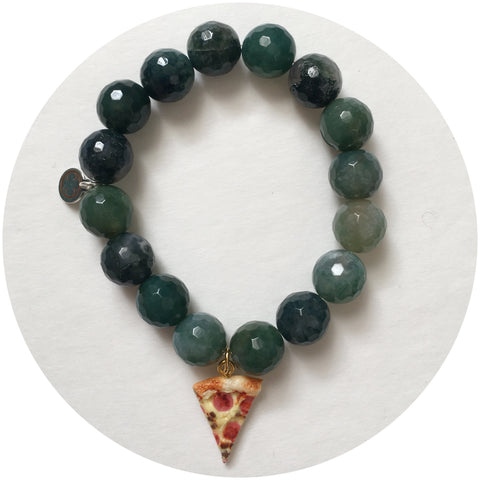 Moss Green with Peperoni Pizza Pendant