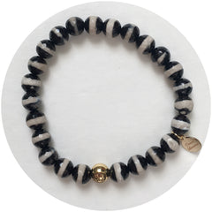 Mens Tibetan Black Zebra Agate with Gold Accent - Oriana Lamarca LLC