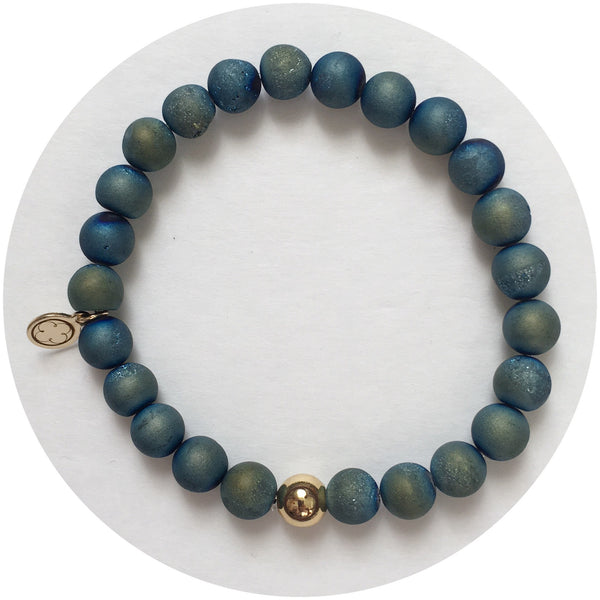 Mens Blue Druzy with Gold Accent