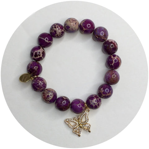 "Children's ""Spread Your Wings and Fly"" Purple Jasper"