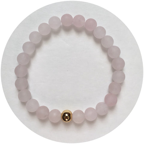 Mens Matte Rose Quartz with Gold Accent