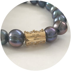 EJ X OL Freshwater Gris Pearls with Barrel - Oriana Lamarca LLC