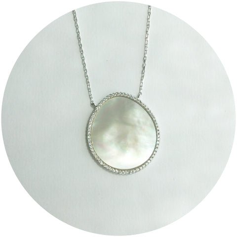 Mother of Pearl Silver Pavè Oval Necklace