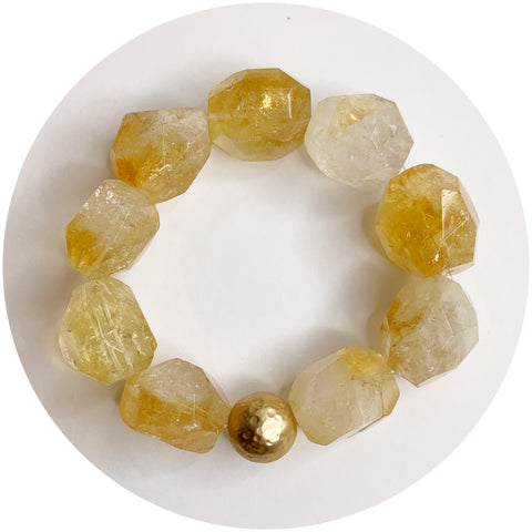 Citrine Nugget with Hammered Gold Accent