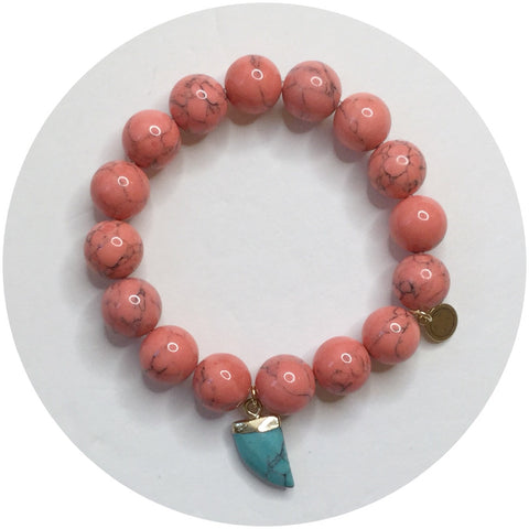Coral Pink Howlite with Turquoise Horn Pendant