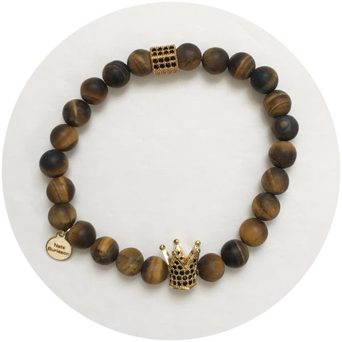 Nate B. Mens Matte Tiger Eye with Pavè Royalty Crown