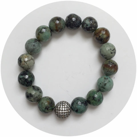African Turquoise with CZ Micro Pavé Gunmetal Accent