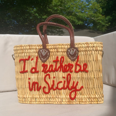 Lilliana I'd Rather Be In Sicily Leather Handle Reed Bag