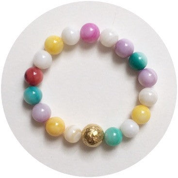 Mini Multicolor Pearl with Hammered Gold Accent *For NewBorns* - Oriana Lamarca LLC