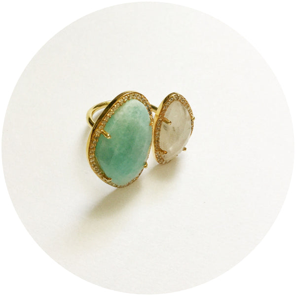 Pavè Double Kindney Amazonite and Moonstone Ring