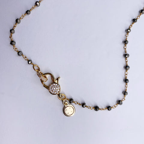 Pyrite Beaded Rosary Necklace