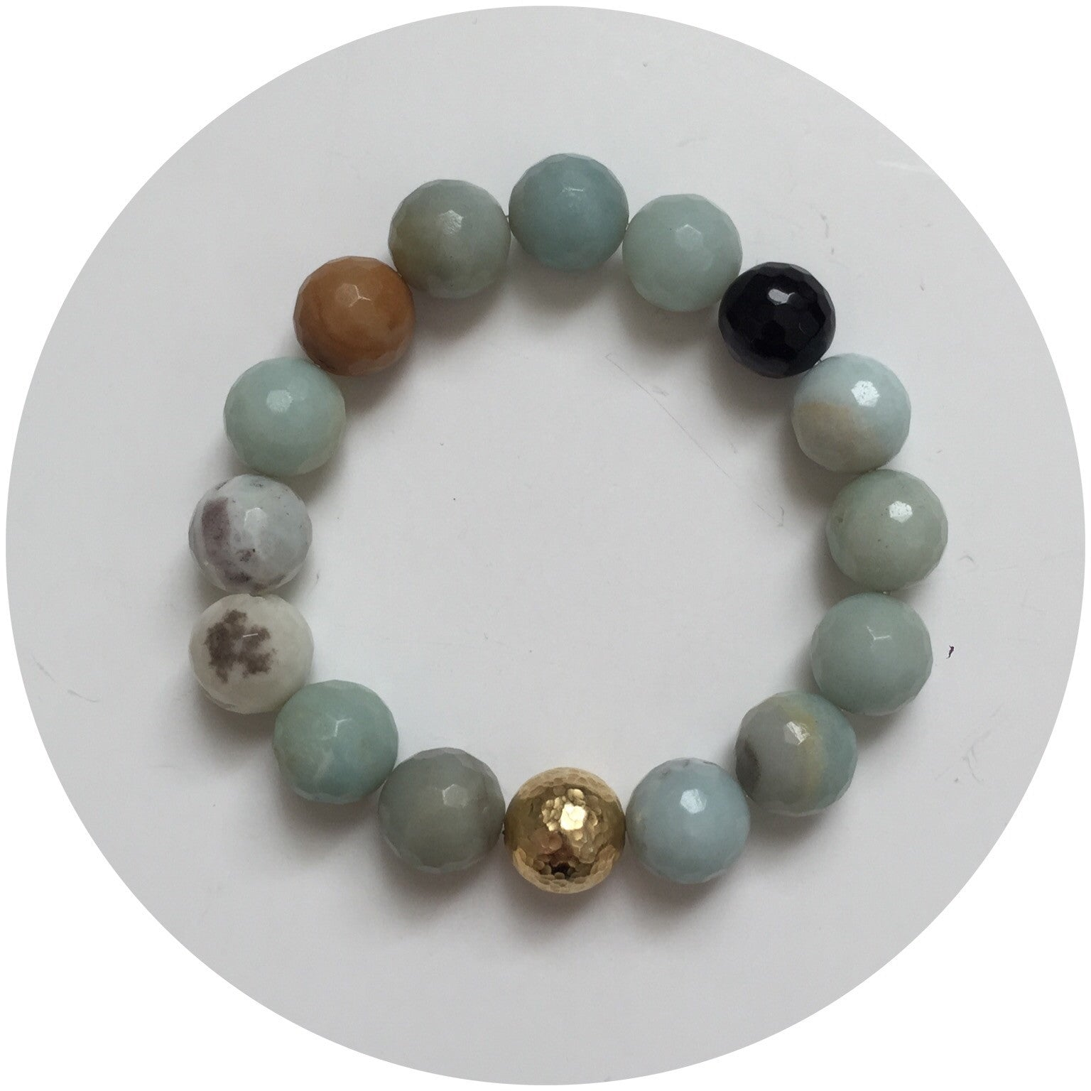 Amazonite with Hammered Gold Accent - Oriana Lamarca LLC