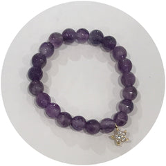 Mini Amethyst with Gold Pavé Star *For NewBorns*