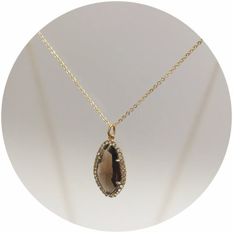 Pavé Brown Teardrop Necklace