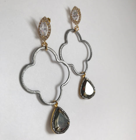 Kate Clover Drop Pavé Pyrite Earrings