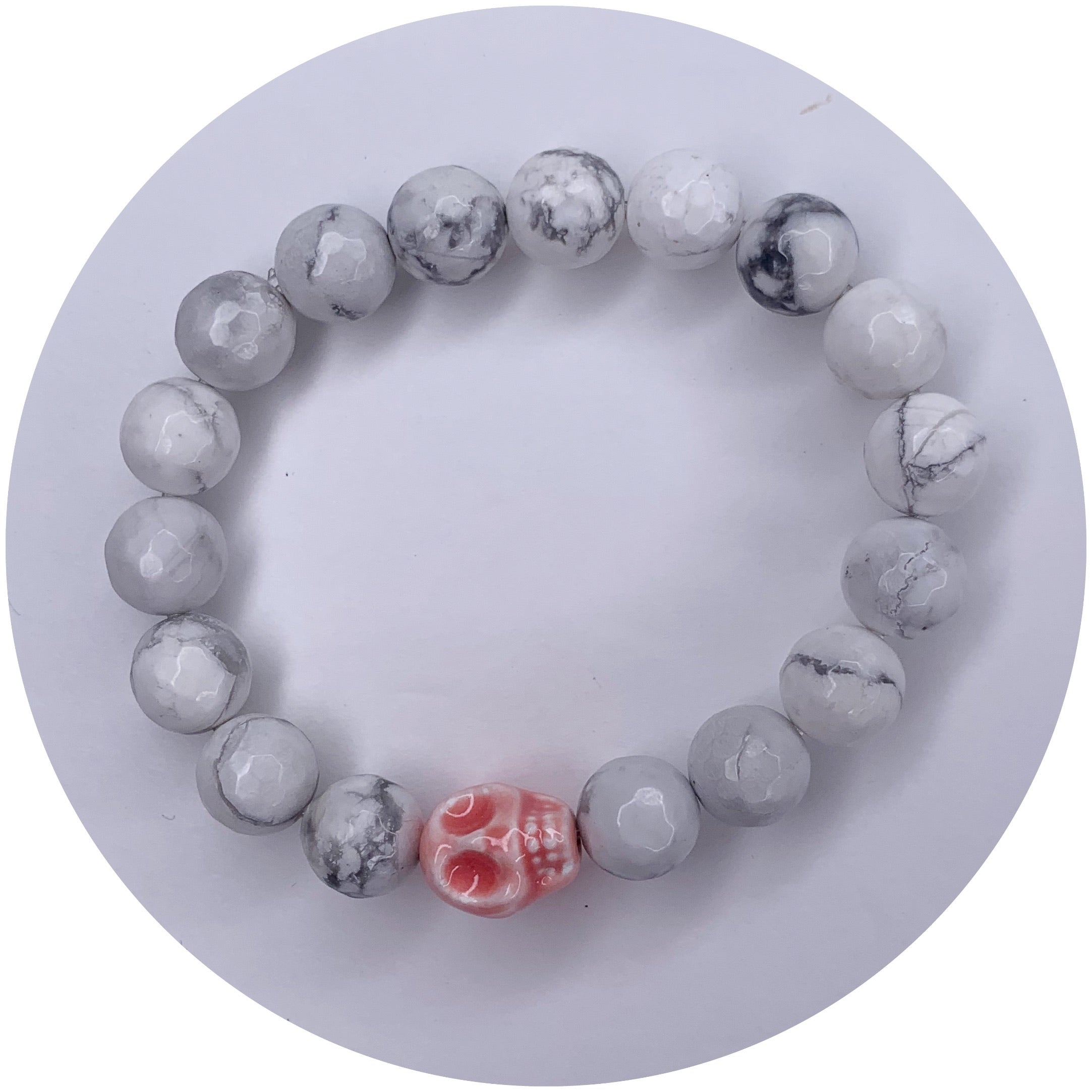 White Howlite with Pink Ceramic Skull