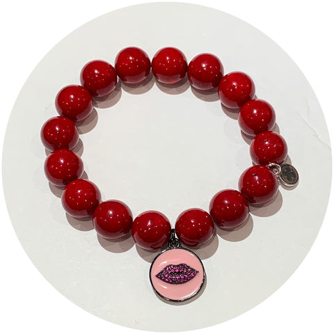 Red Riverstone with Pavé Enamel Lip Pendant