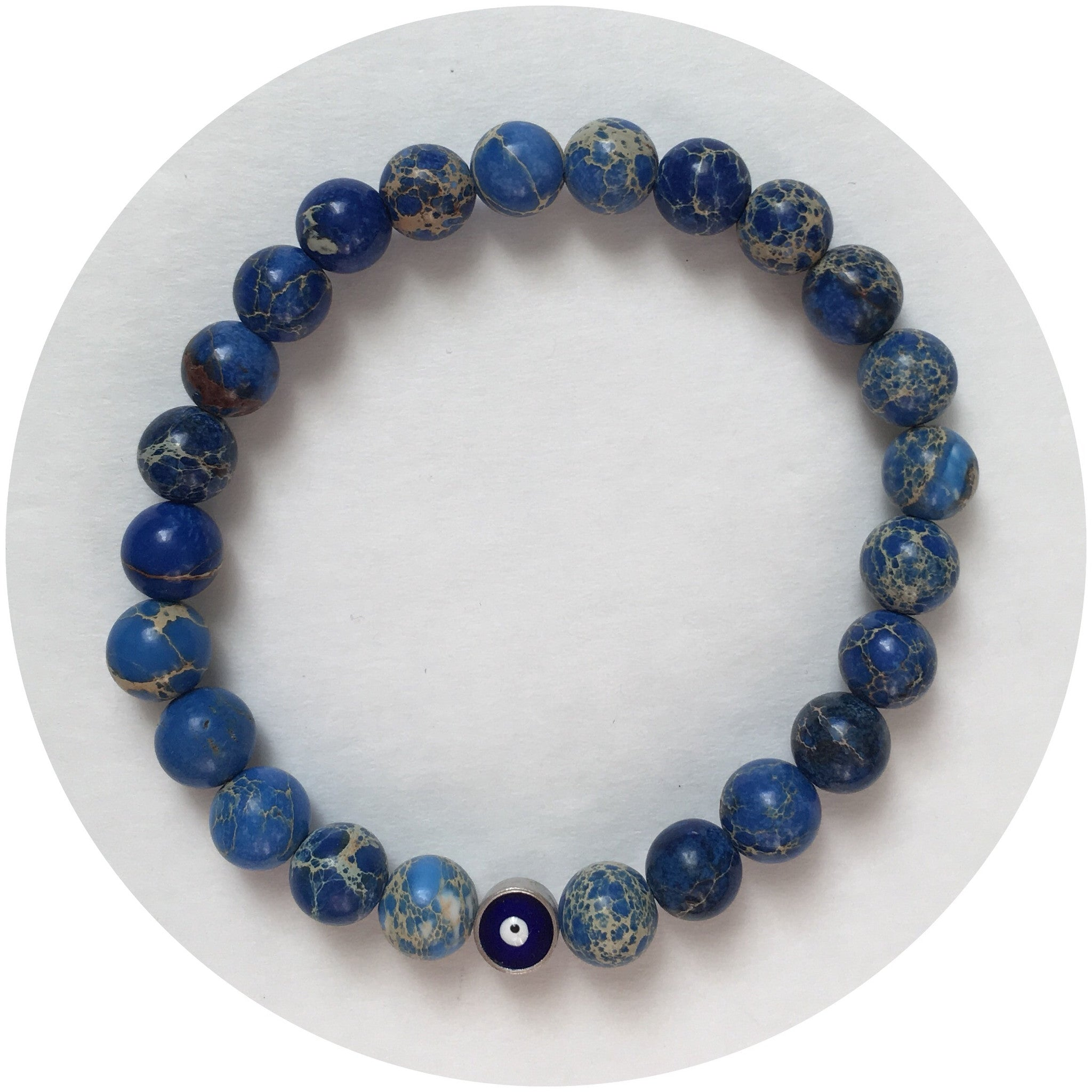 Mens Blue Imperial Jasper with Evil Eye