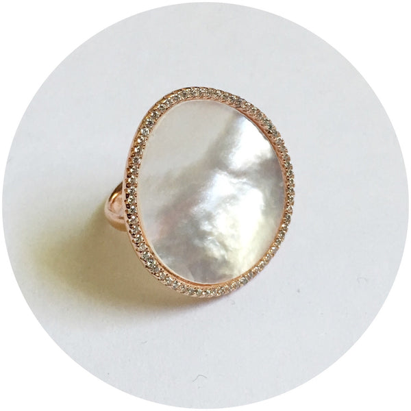 Mother of Pearl Rose Gold Pavé Ring
