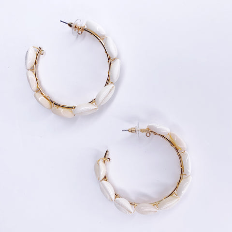 Chloe Cowrie Shell Hoop Earrings