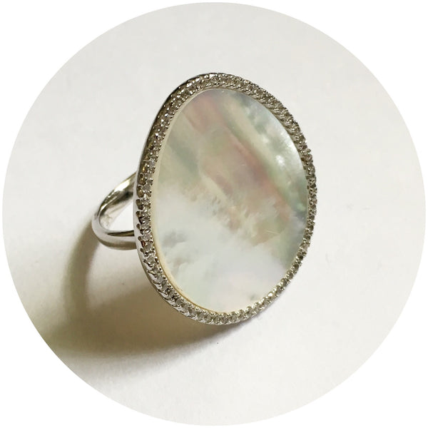 Mother of Pearl Silver Pavé Ring