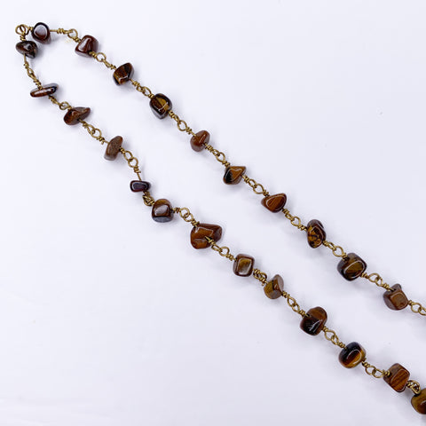 Tiger Eye Gemstone Chips Mask/Glasses Strap