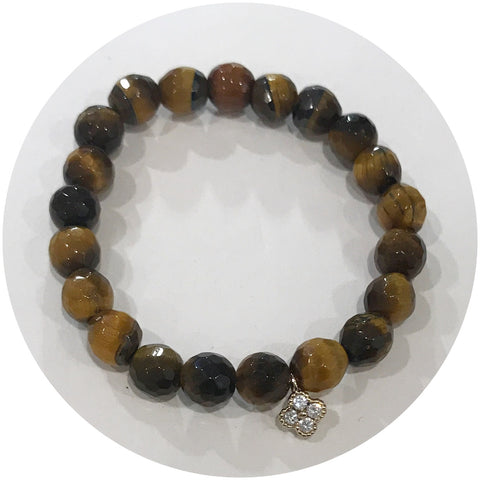 Mini Tiger Eye with Gold Pavé Clover *For NewBorns*
