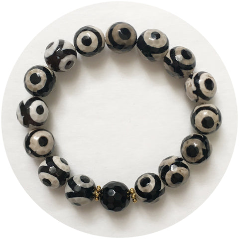 Tibetan Black Eye Agate with Black Onyx
