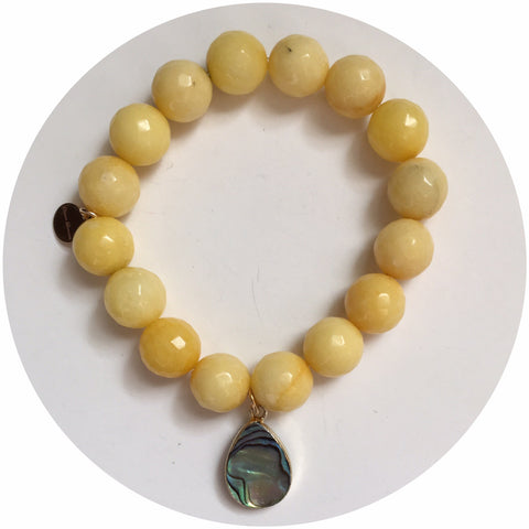 Yellow Jade with Abalone Teardrop Pendant