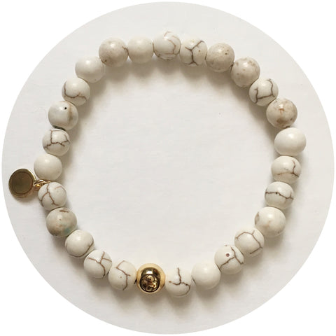 Mens White Magnesite with Gold Accent