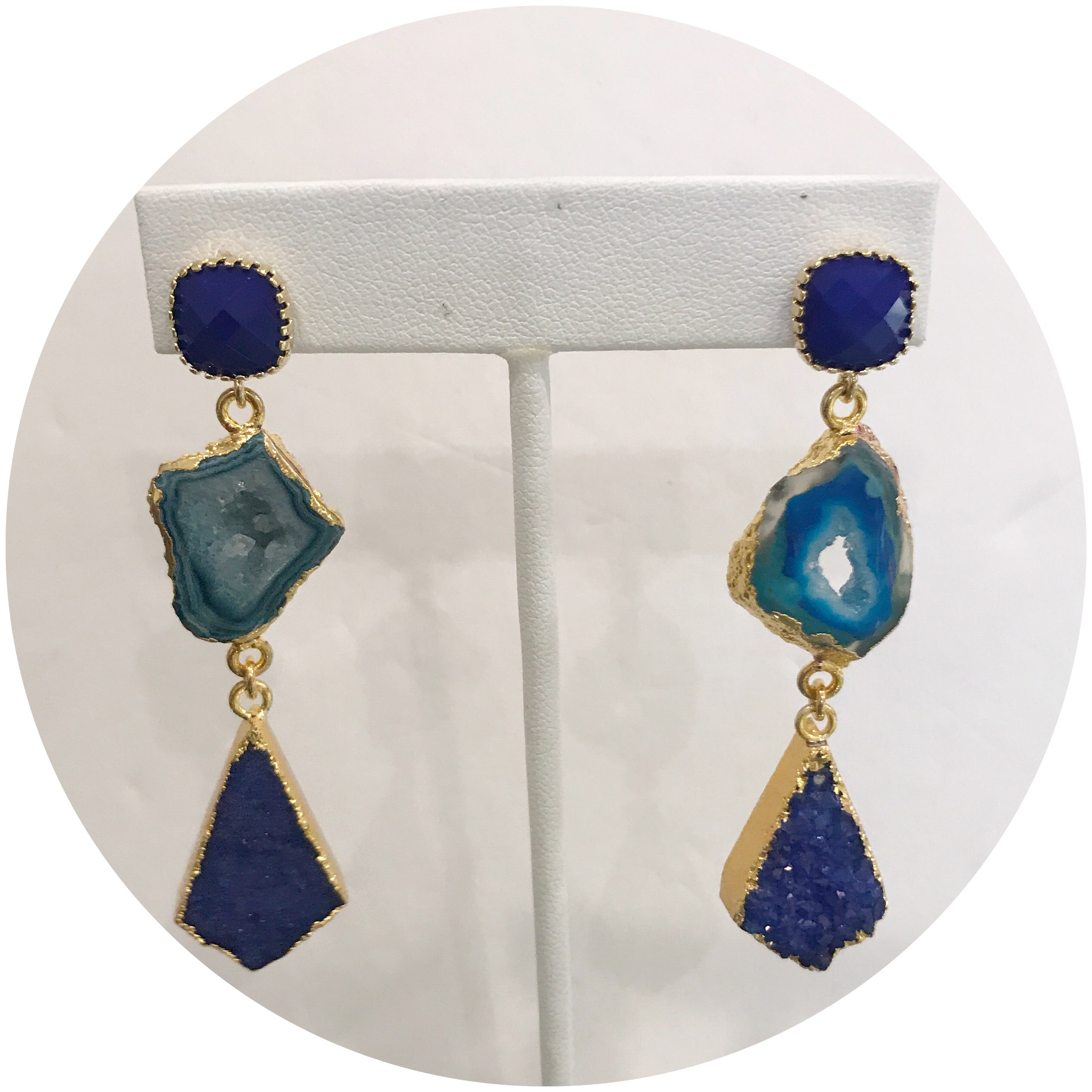 Rachel Blue Agate with Lapis Druzy Drop Earrings