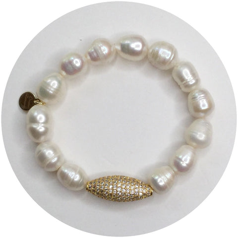 Freshwater Pearls with Pavé Gold Dome