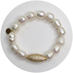 Freshwater Pearls with Pavé Gold Dome - Oriana Lamarca LLC