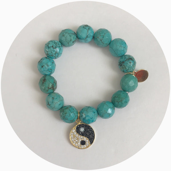 Children's Green Turquoise with Pavé Yin Yang Pendant