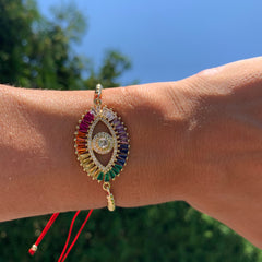 Red Cord with Rainbow Pavé Evil Eye Connector