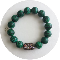 Malachite with Pavé Bean - Oriana Lamarca LLC