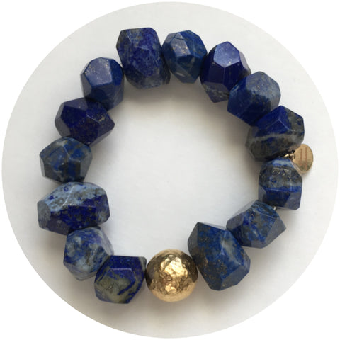Lapis Nugget with Hammered Gold Accent