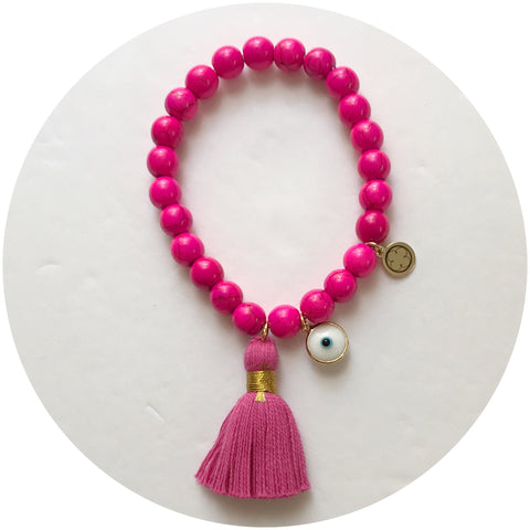 Hot Pink Howlite with Magenta Tassel