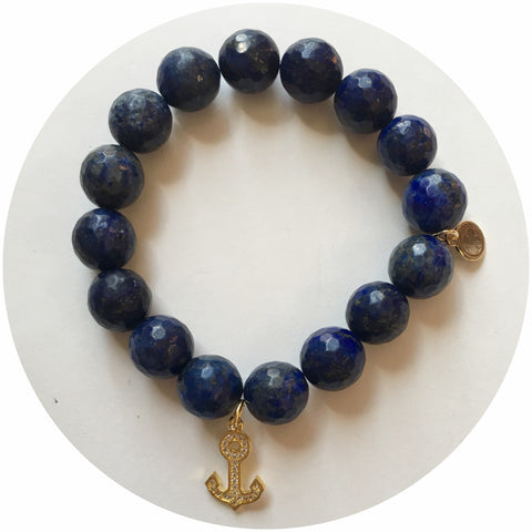 Lapis Lazuli with Gold Pavé Anchor  Pendant
