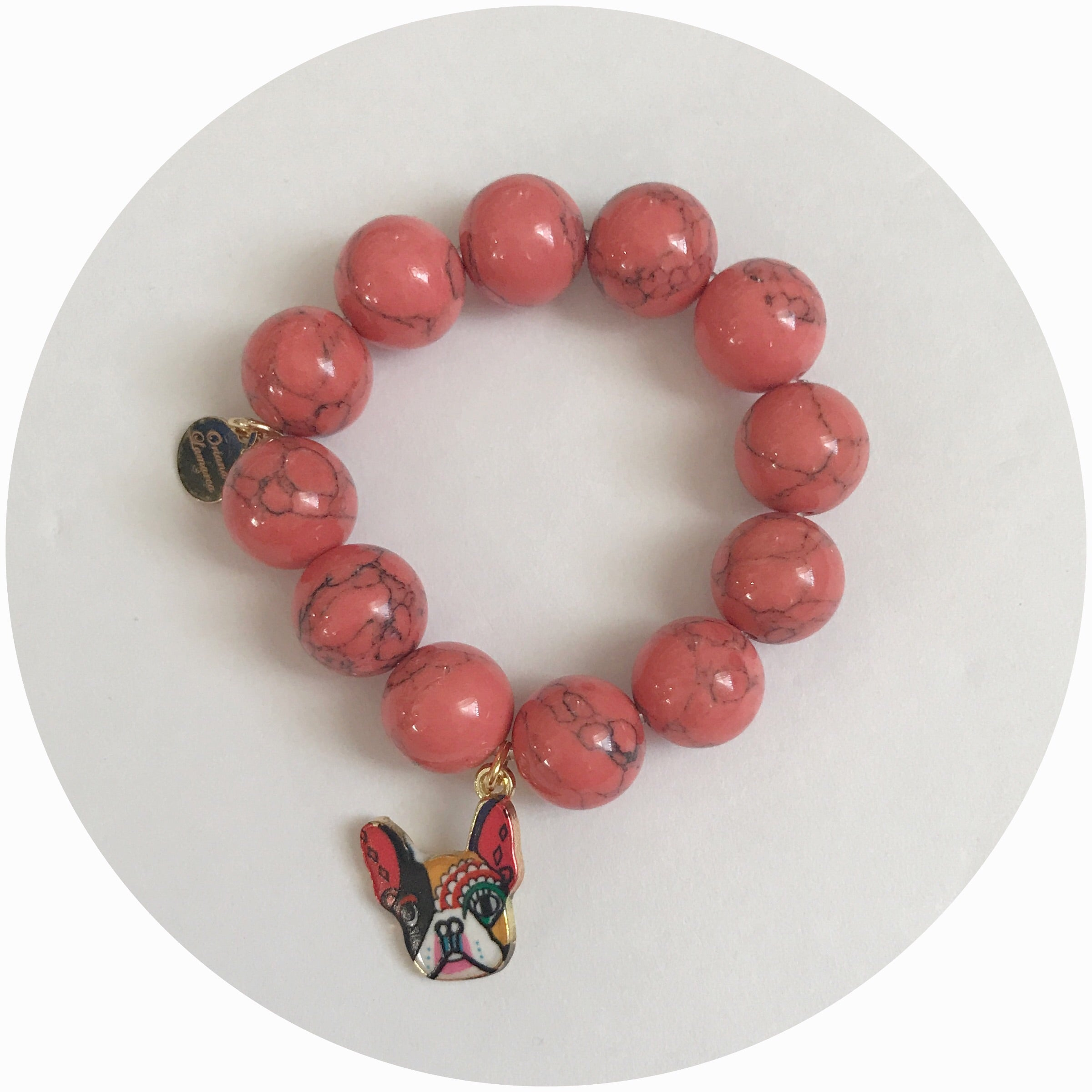 Children's Coral Pink Howlite with French Bulldog Pendant - Oriana Lamarca LLC