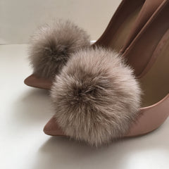 Light Brown Rabbit Fur Pom Pom - Oriana Lamarca LLC