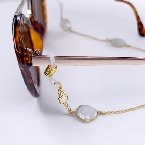 Rose Quartz Gold Bezel Glasses Strap