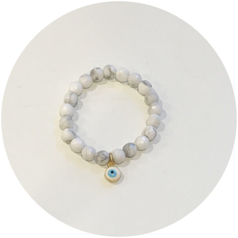 Mini White Howlite with Evil Eye Pendant *For NewBorns*