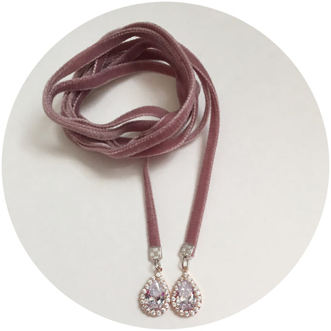 Dusty Rose Velvet Choker Wrap Necklace with Pavé Teardrops