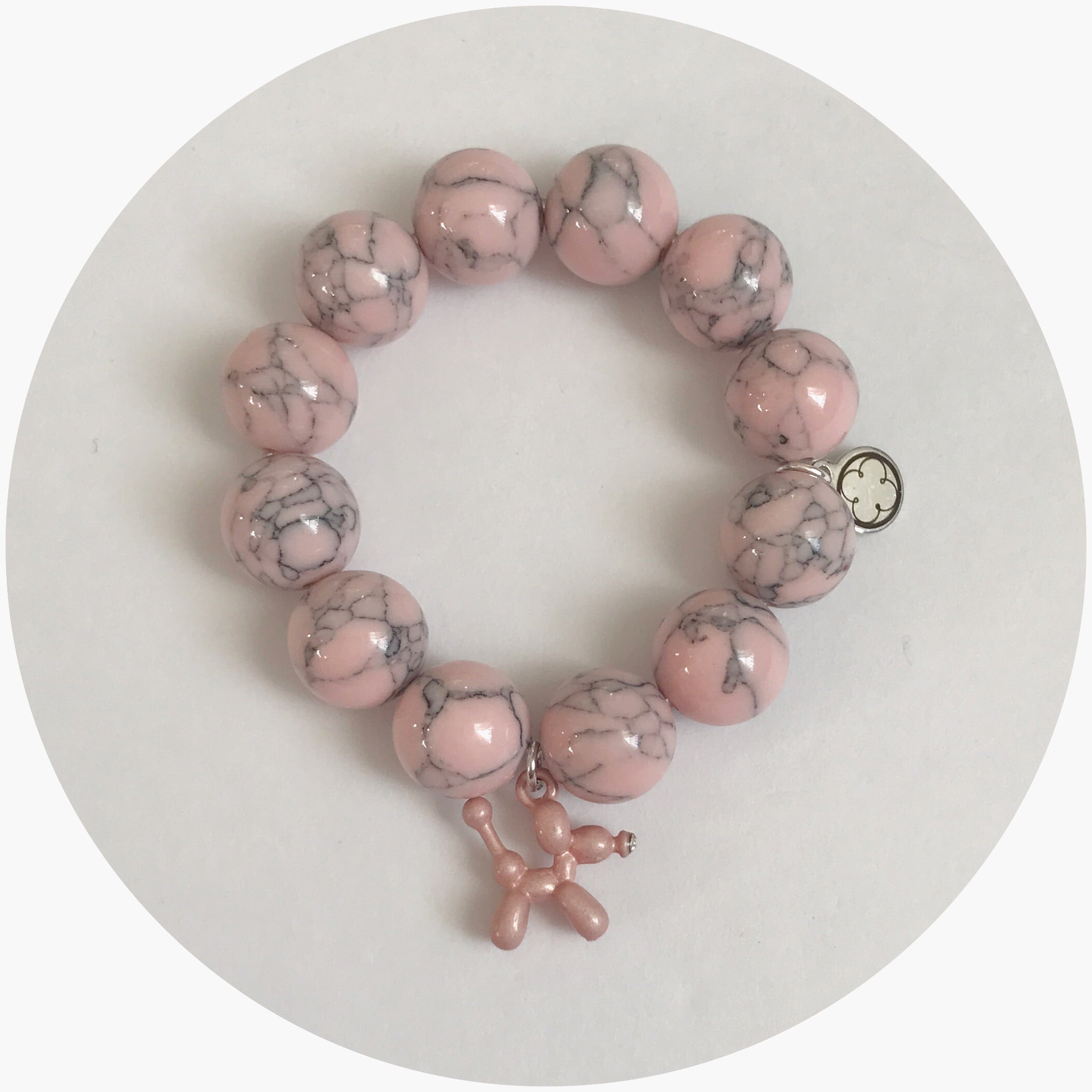 Children's Pink Howlite with Pink Balloon Dog - Oriana Lamarca LLC