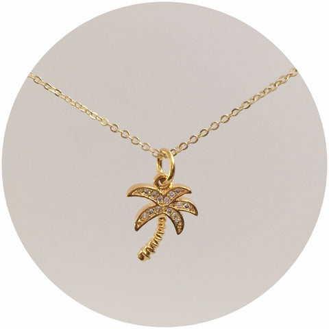 Gold Pavé Palm Tree Pendant Necklace